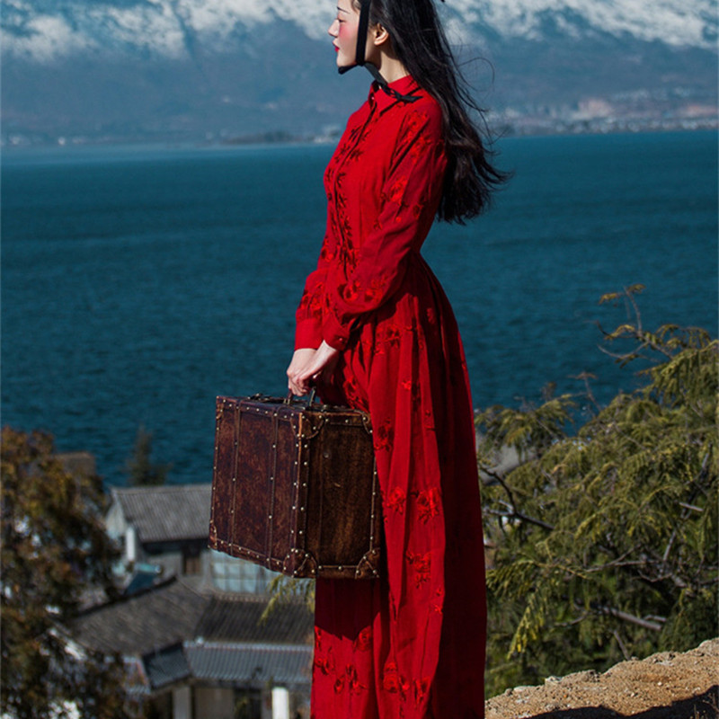 BOHOCHIC Original Vintage Ethnic Embroidery Plus Size Women Clothing Boehmian Female Long Dress Beach AZ0502C Boho ChicОдежда и ак�е��уары<br><br><br>Aliexpress