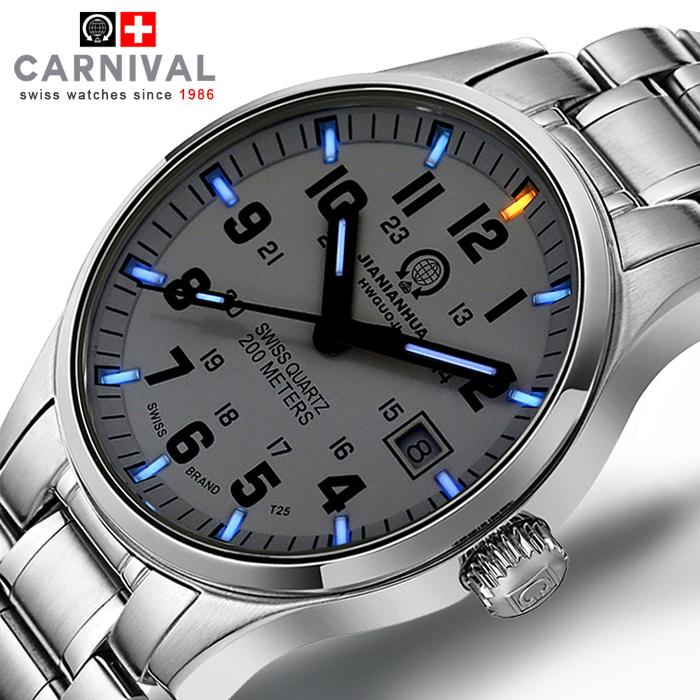 Genius Swiss tritium gas Carnival luminous watch men waterproof quartz watch male table steel genuine(China (Mainland))
