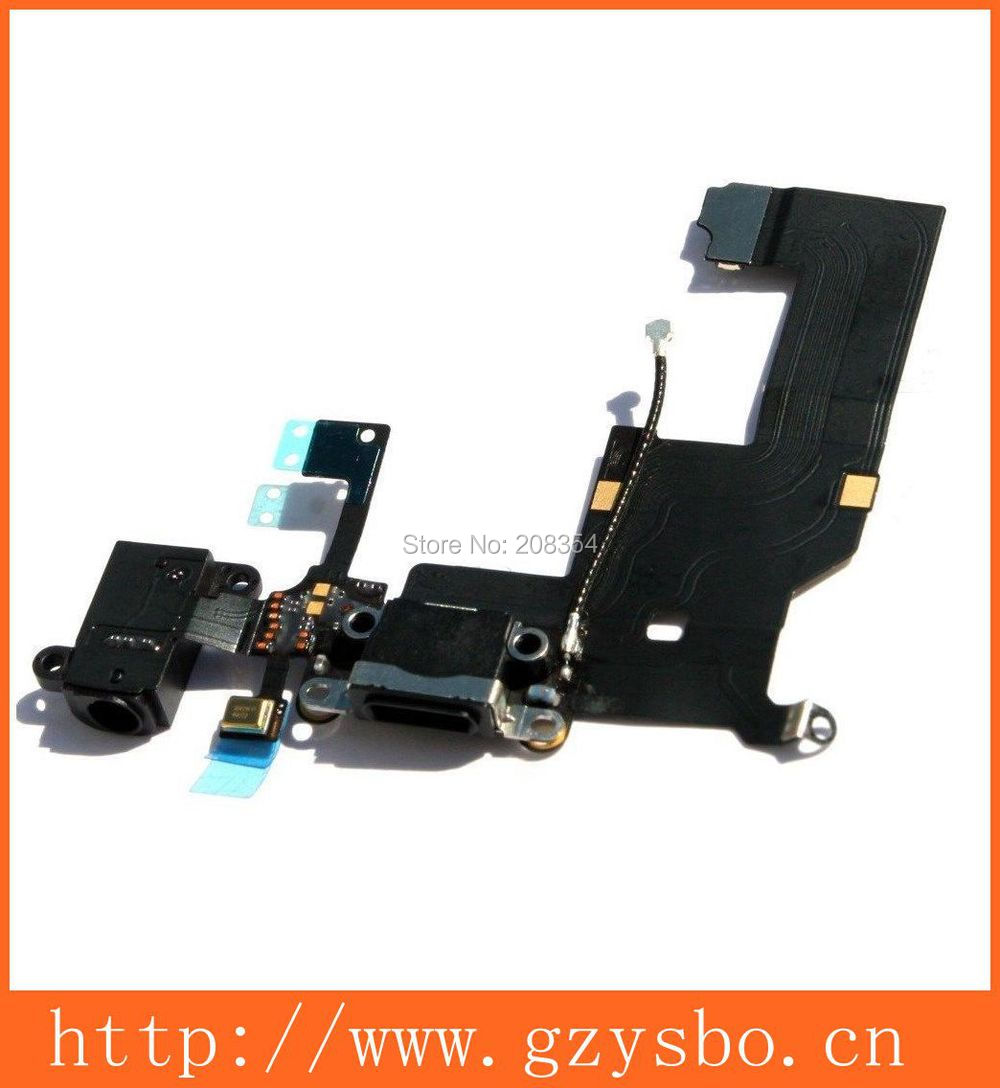 Black Brand New Charging Port Dock Headphone Jack Mic Connector Flex Cable for iPhone 5 5G(China (Mainland))