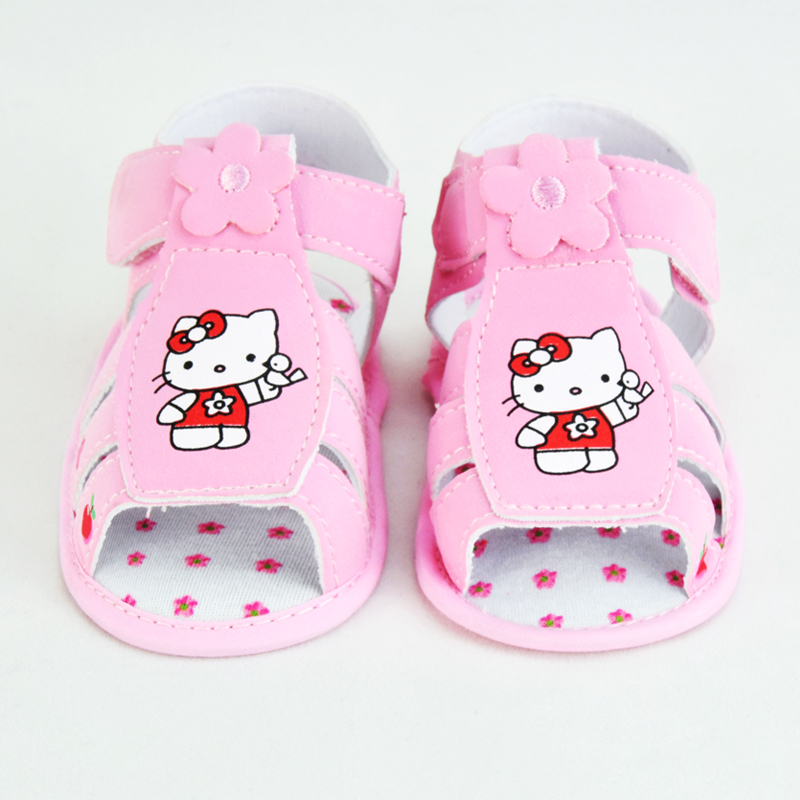 2015 Hello Kitty Baby Girls Sandals Summer Newborn Bebes First Walkers Shoes Toddler Girl Baby Sandals chaussure enfant CQ106(China (Mainland))