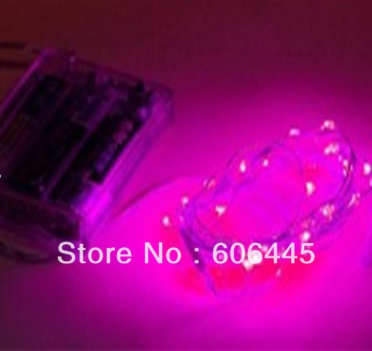 Pink Purple 300cm Battery Powered Operated Christmas Holiday Mini LED Copper Wire String Lights ...