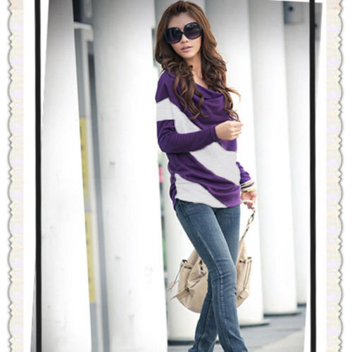 Fashion New Womens Girl Casual Batwing Stripe Top Loose Long Sleeve T Shirt 4 Size