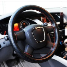 Steering Wheel Cover Case black 2015 Hot Sale Universal PU Leather DIY Car Steering Wheel Hubs(China (Mainland))