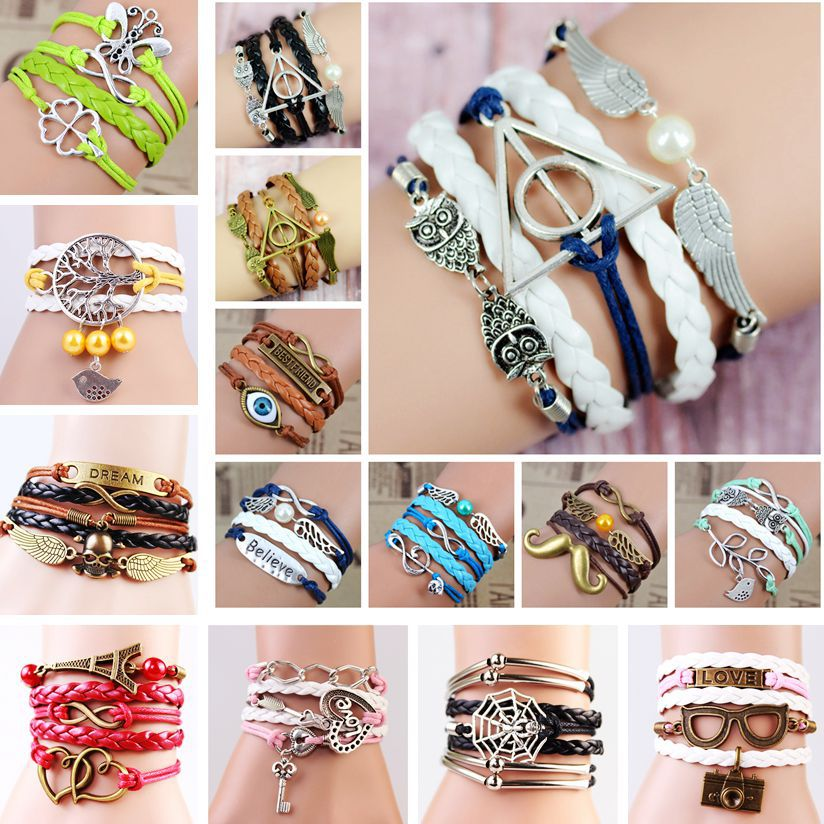 2014 Multilayer Braided Bracelets , Vintage Owl Harry Potter wings infinity bracelet, Multicolor woven leather bracelet & Bangle(China (Mainland))