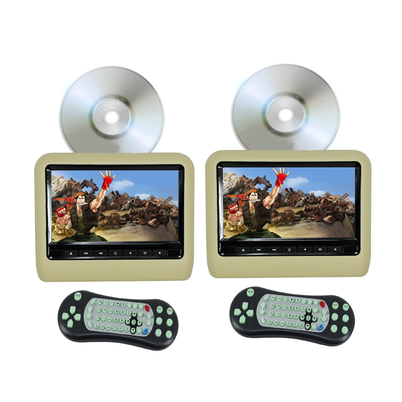 Car DVD Player Headrest Monitor 9 Inch(16:9) Digital LCD Monitor With USB SD Port Game (2PCS With DVD Player) - Beige Color<br><br>Aliexpress