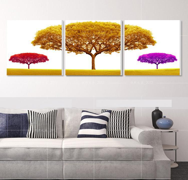 Printed pachira macrocarpa on canvas trees 3 Panels Free