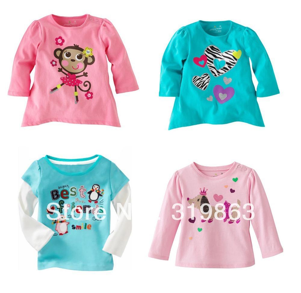 Wholesales Girls T Shirt Penguin Kids T Shirts Jumping