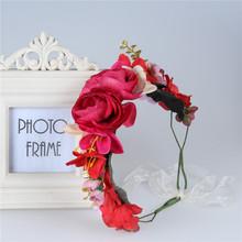 2016 New Fashion Wedding Rose Flower girl headbands Wreath Bridal Hairband Floral Adjustable crown Hair Accessories for women