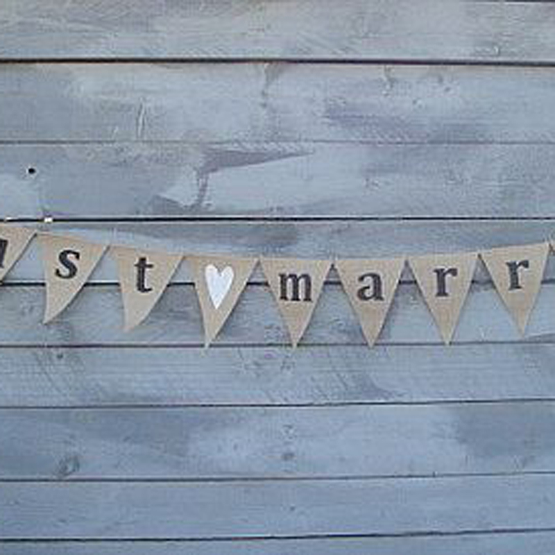 12 Flags 3.2M just married burlap banners Personality Wedding Bunting Decor Vintage Party Birthday Baby Show Garland Decoration(China (Mainland))