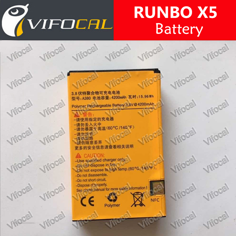 In Stock 100% Original 4200Mah A380 Battery For Runbo x3 X5 X5+ X6 Q5 Q5S Smart Mobile Phone + Free Shipping