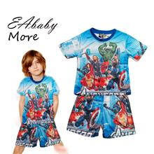 2015 super hero pyjamas superman spider man Various cartoon print children's pajamas kids pajama sets for boy CX(China (Mainland))