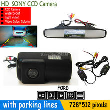 SONY CCD Night Vision New Reverse Camera With Monitor Car Rear View Camera Car Mirror Monitor FORD TRANSIT CONNECT 2012-2014(China (Mainland))