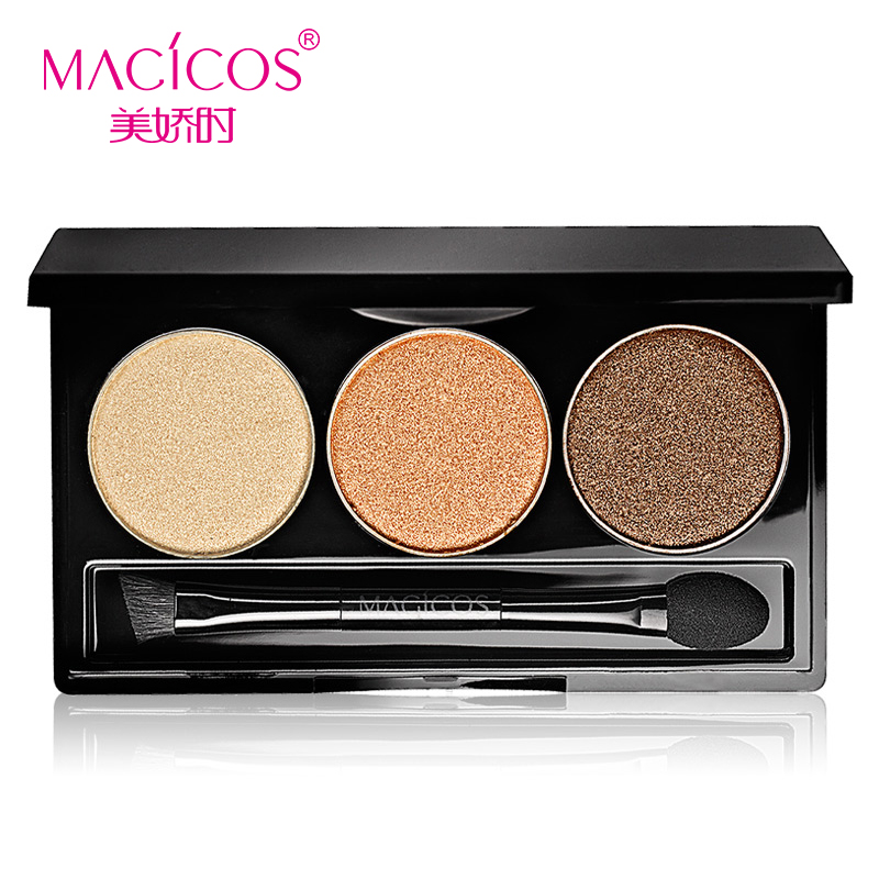batom Mc cosmetics makeup beautiful charming 3 color Eyeshadow 4G send pearl nude lasting earth color free shipping(China (Mainland))