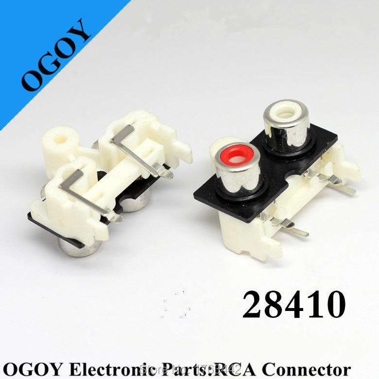 Wholesale 1lot/20pcs, AV2 Pin Jack RCA Female Audio Video AV Socket Connector AV2-9, For Red+White Color Rca Connector Female(China (Mainland))