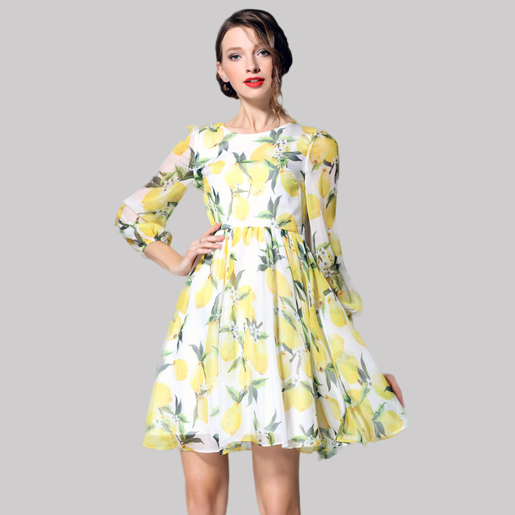 100% silk dress new 2016 spring summer dress three quarter sleeve O neck chiffon women print dress 012805