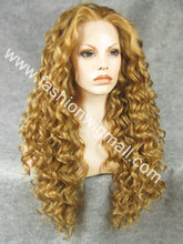 Free Shipping 26″ Extra Long #27HY/10 Mix Blonde 150% Density Heat Resistant Synthetic Hair Lace Front Fashion Wig W18
