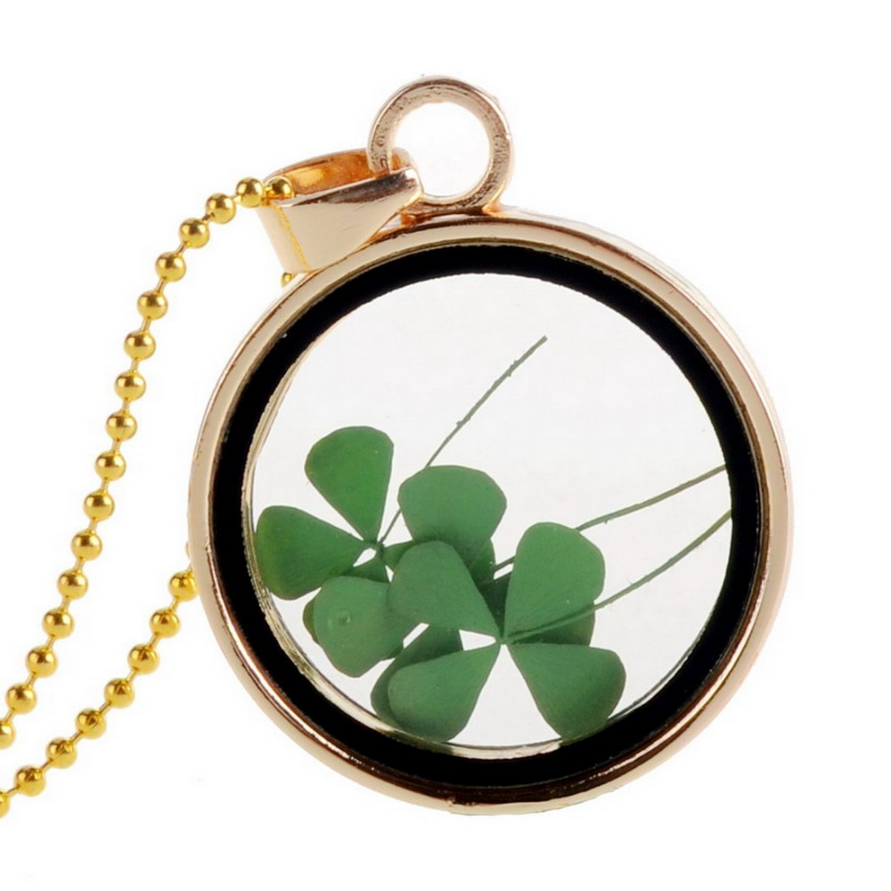 Dried Flower Clover Floating Locket Memory Living Pendant Necklace Gold Plated Jewelry Real Plant Flower 18in Chain Neckalces(China (Mainland))