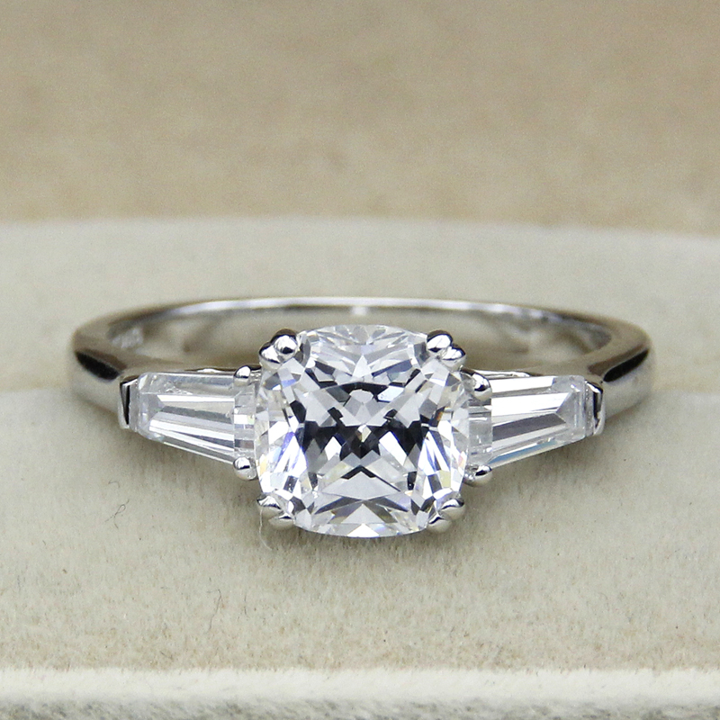 2CT Cushion Cut Simple Engagement Ring 925 Sterling Silver White Gold Plated