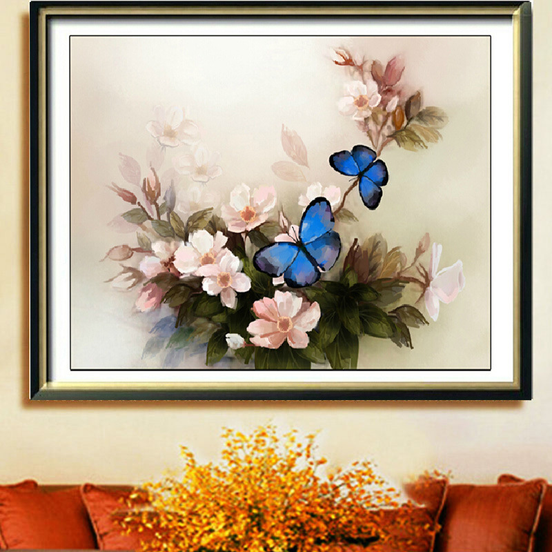 Cross stitch peony three-dimensional printing new restaurant bedroom living room painting series stitching blue butterfly stitch(China (Mainland))