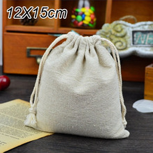 """Linen Gift Bags 12cmx15cm(4.75""""x6"""") Wedding Party Favor holders Muslin Cotton Storage Bags Jewelry Drawstring Pouches(China (Mainland))"""