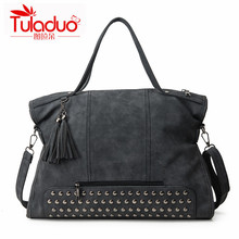 Buy Rivet Scrub PU Leather women bag Fashion Tassel Messenger Bag Vintage Shoulder Bag Larger Crossbody Bags 4 Color High for $22.97 in AliExpress store