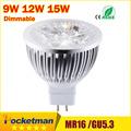 High lumen CREE MR16 GU5 3 LED spot light lamp 12V 220V 110V 9W 12W 15W
