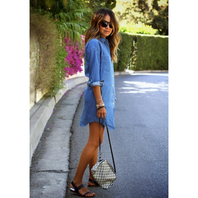 Spring Autumn Women Casual Dress Long Sleeve Mini Shirt Dress Blue Jeans Denim New
