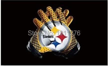 Pittsburgh Steelers American Football flag 90 * 150CM decorative 100D sports gloves free shipping NFL flag Super Bowl logo(China (Mainland))
