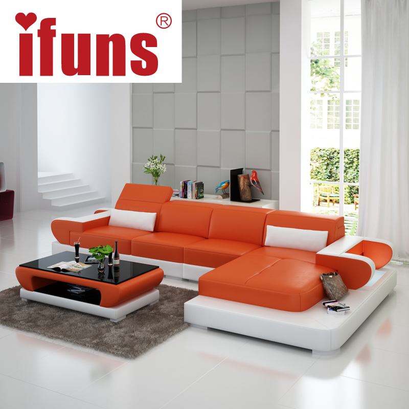 Ifuns moden new design top garin leather l shaped storage for Latest sofa designs for living room