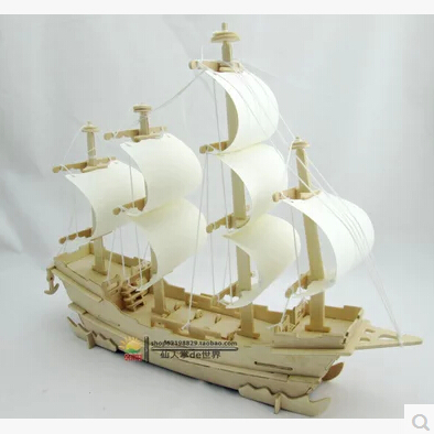 product Wooden ship models 3d stereoscopic DIY assembled model toy sailboat ancient