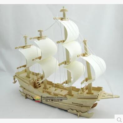 2015 Kid Miniatura Arma Top Fasion Freeshipping Wooden Ship Models, 3d Stereoscopic Diy Assembled Model Toy Sailboat Ancient(China (Mainland))