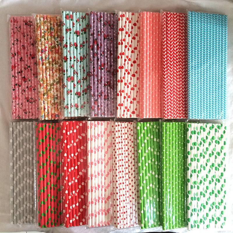 25pcs 13 Types Colorful Stripe Paper Straws Drinking Tubes Tableware Retro Cake Pop Straws For Party Birthday Wedding Docor(China (Mainland))