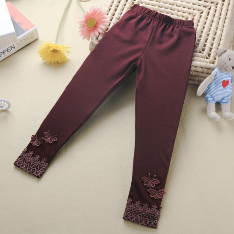 Kid Baby Butterfly Lace Warm Pants Girl Stretchy Leggings Trousers Toddler Tights