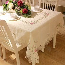Designer Round Lace Tablecloth,Brand 100% Handmade Embroidery Table Cloth,Modern American Rustic Floral Table Cover(China (Mainland))