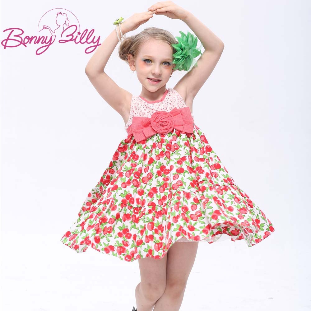 New Summer Sleeveless Teen Girls Cotton Printed Dress, Kids Cute Clothing for Girls free shipping(China (Mainland))