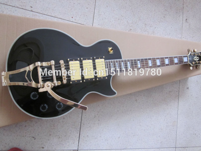 Electric guitar Free shipping lp custom black color with maple top/big tremolo electric guitar/oem guitarra in china(China (Mainland))