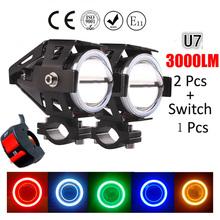 2PCS 125W 12V Motorcycle Headlight Motorbike 3000LM moto spotlight CREE U7 LED Waterproof Driving Fog Spot Head Light Lamp 2015(China (Mainland))