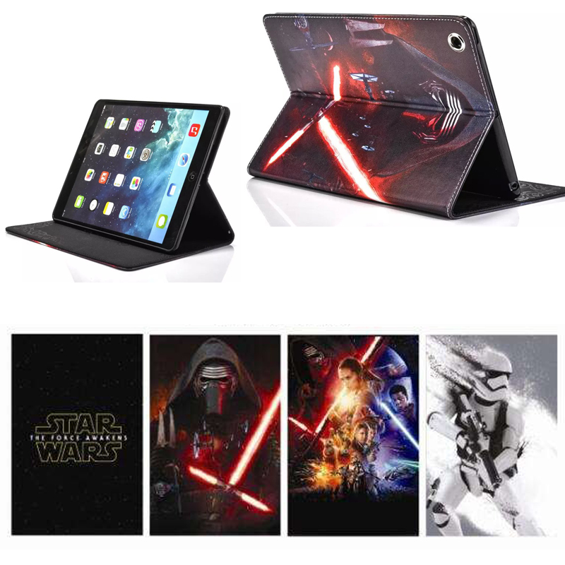 "New Star Wars PU Leather + Silicon back cover tablet PC Smart case for 7.9 "" Apple iPad mini 4 protective stand holder cases(China (Mainland))"
