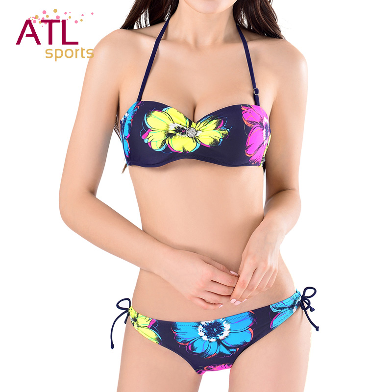 2016 Newest Women Bandeau Bikini Art Floral Occidental Secret Brazilian Low Waist Swimsuit Passionate Bathing Swimwear Female(China (Mainland))