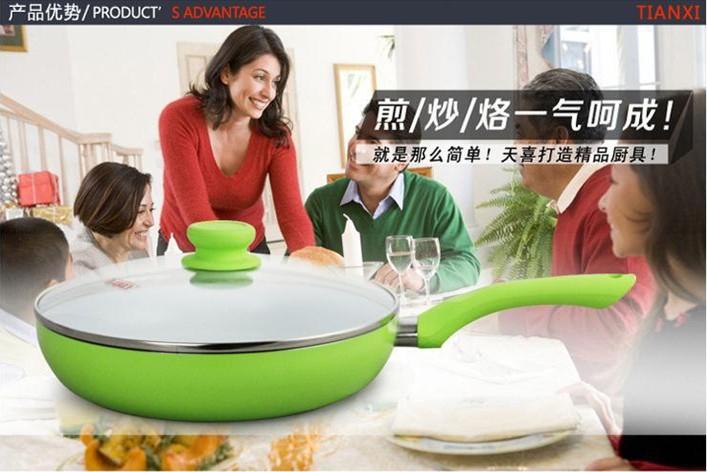 26cm Ceramic Pan Non Stick Frying Pan Smoke-Free no Cover,Ceramic Frying Pan Non Stick Frying Panceramic Pan Free Shipping(China (Mainland))