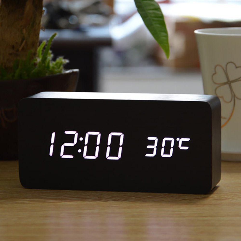 2015 Sound Control LED Wooden Alarm Clock Digital Despertador Time Temperature Week Calendar Display for Home Office Free ship(China (Mainland))