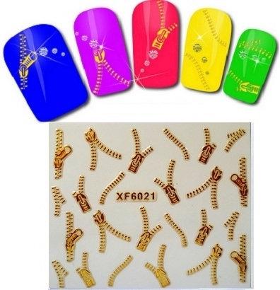 1pc Nail art 3D gold foil sticker Golden zipper sticker Harajuku short bride patch applique diy Nail Polish stickers nail tool(China (Mainland))