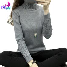 Mujeres suéter 2015 otoño invierno Twisted flores de punto suéteres Thincken jersey de cuello alto de manga larga mujeres suéter(China (Mainland))