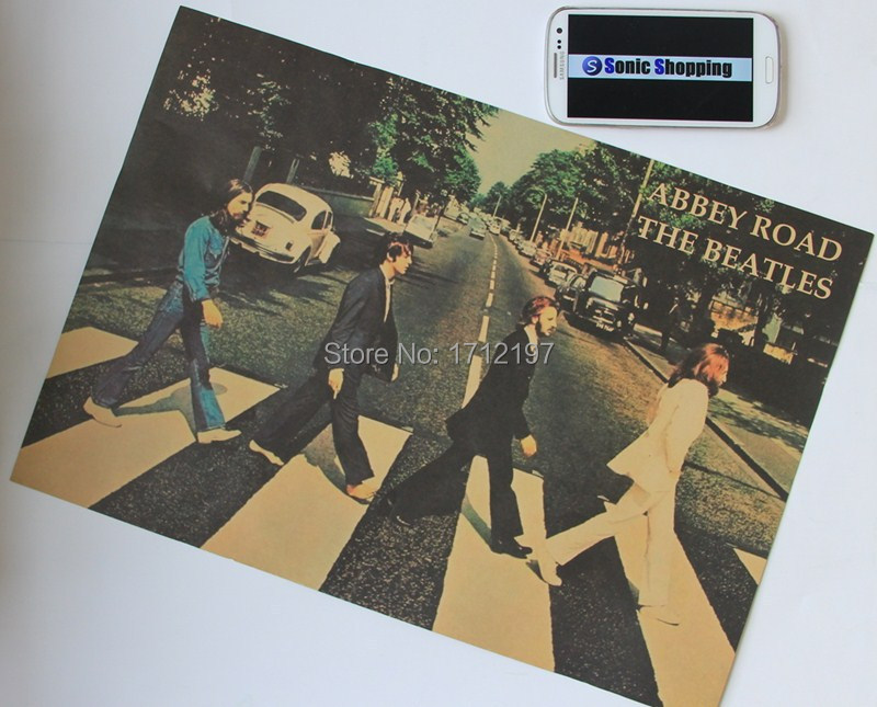 Free shipping Wall Sticker Retro poster Home decoration The Beatles kraft paper poster Wall Chart home decor(China (Mainland))