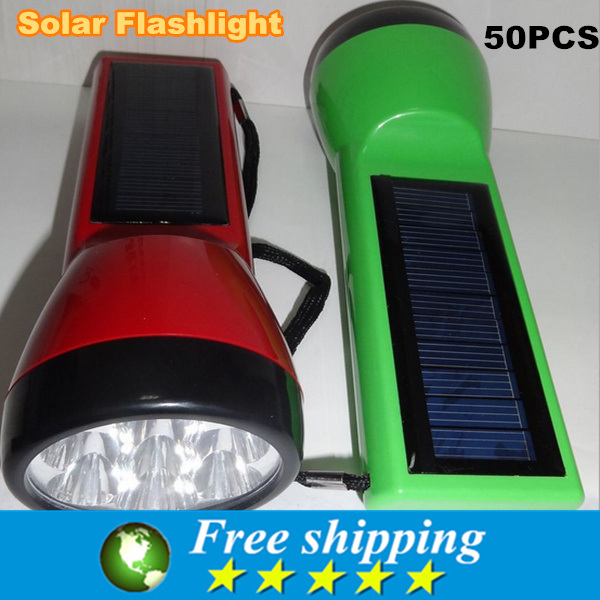 High Quality 7 LED Super Solar Power Portable Flashlight Torch Lamp Hiking Camping ,125 * 40 mm,free shipping 50x(China (Mainland))