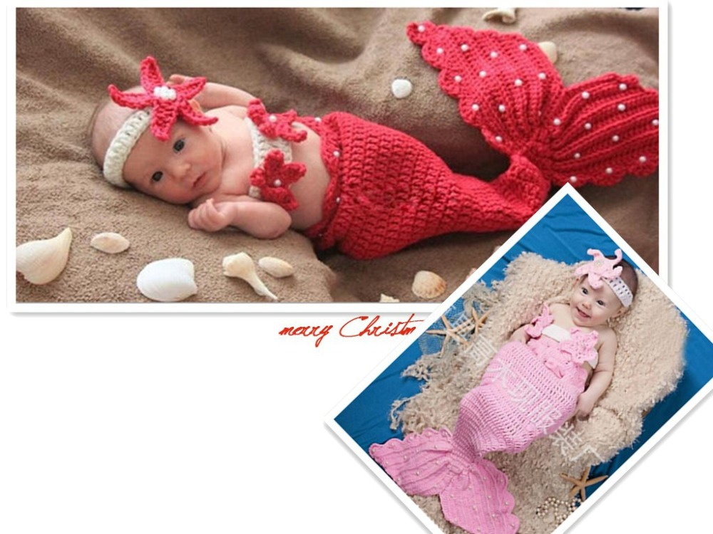 2015 newest! Newborn Baby caps Infant Crochet outfits Knitting red pink color mermaid Photography Props Hats Caps for 0-6 Month(China (Mainland))