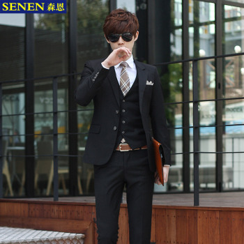 Foremode Autumn Korean Cultivating Men's Suits Business Casual Suit Three Piece Groom Wedding Dress Occupation Black Two Buckle