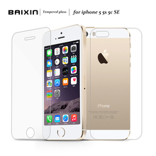 2 pcs/lot Front + Back Premium Tempered Glass for iPhone 5s 5c 5 se  Anti-scratch 0.25D Screen Protector Film for iPhone5 s(China (Mainland))