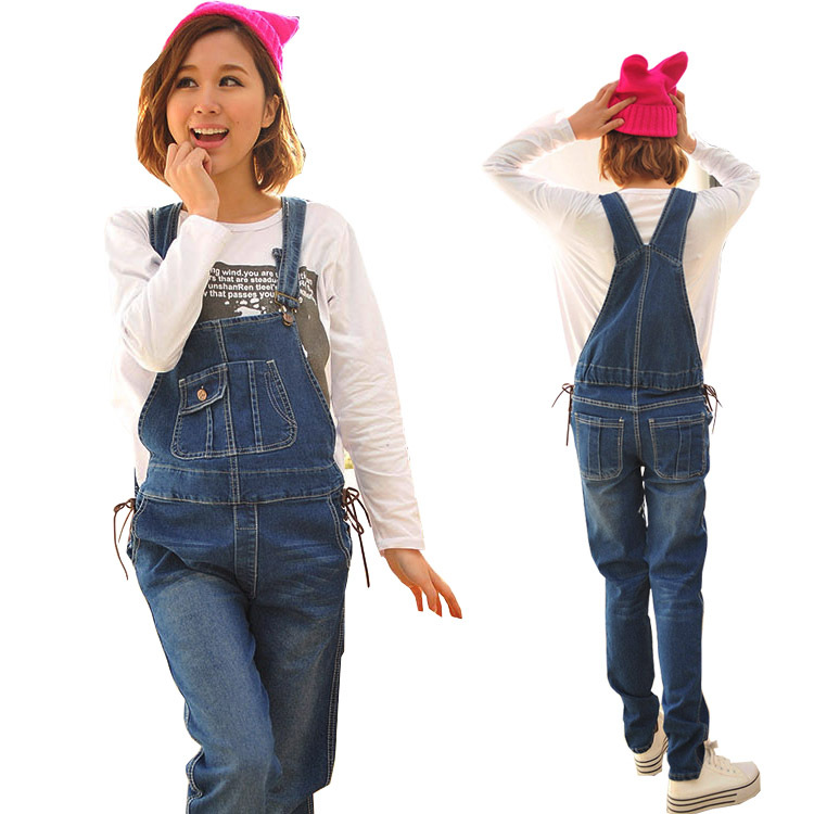 Clothes For Pregnant Women Maternity Jeans Denim Overalls Pants Rompers Cotton Suspender Trousers Side Sashes w099
