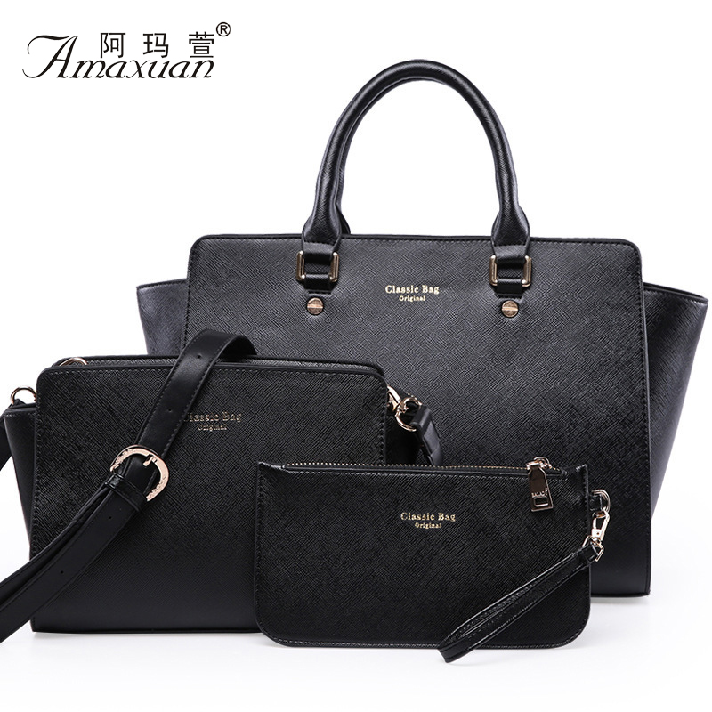 Women's Bag Newest Trapeze Composite Bags Bolsos Marca Ladies Pu Leather Shoulder Bags Handbag+Messenger Bag+Purse 3Sets BH581
